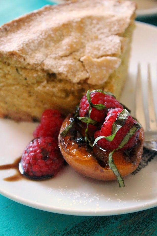 Grill Like an Italian with Colavita: Olive Oil Polenta Cake with Grilled Apricots and Berries