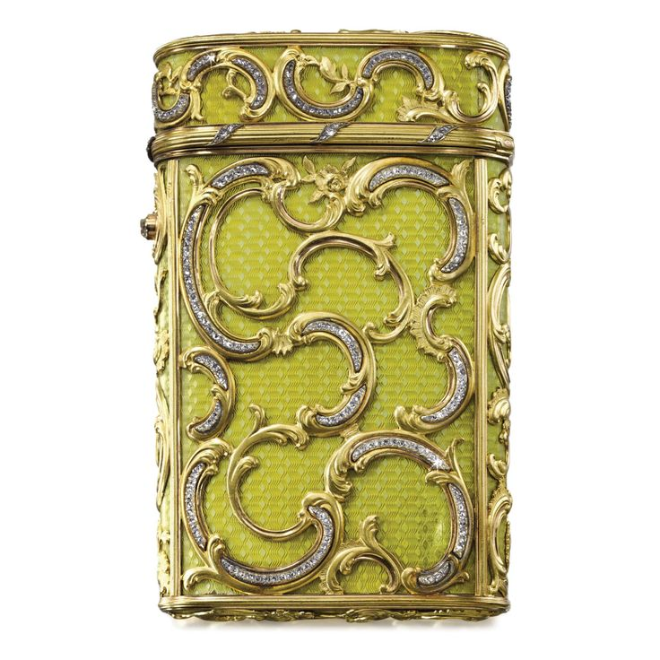 A FABERGÉ IMPERIAL ENAMEL CIGARETTE CASE WITH JEWELLED TWO-COLOUR GOLD MOUNTS, WORKMASTER MICHAEL PERCHIN, ST PETERSBURG, 1899 in rococo taste, the surface enamelled in translucent chartreuse yellow over banded wavy engine-turning, overlaid with diamond-set scrolls, diamond thumbpiece, struck with workmaster's initials and Fabergé in Cyrillic, with scratched inventory number 2300, 56 standard