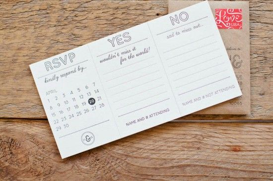 LOVE this tear-off RSVP with the mini envelop. Clever and intriguing enough to maybe even get some replies...
