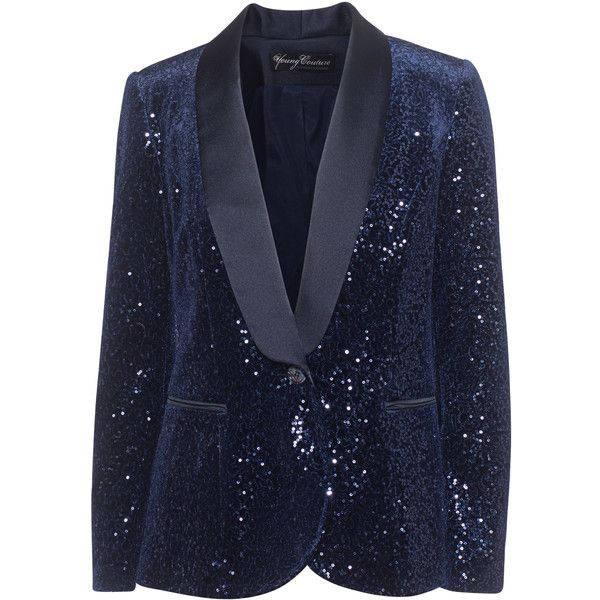 YOUNG COUTURE BY BARBARA SCHWARZER Sequin Navy // Sequined blazer (23.055 RUB) via Polyvore featuring outerwear, jackets, blazers, sparkly blazer, navy blazer, slim fit blue blazer, embellished blazer и slim navy blazer