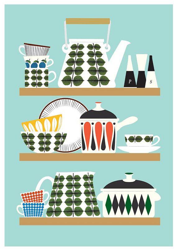 Scandinavian Kitchen print, Stig Lindberg Bersa, Mid Century Modern poster, Retro Kitchen art, Kitchen decor, cooking print, A3.