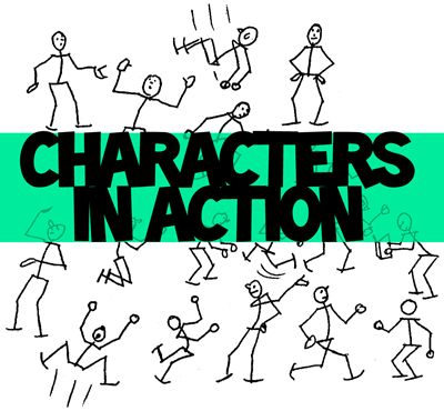 cartoon characters in action