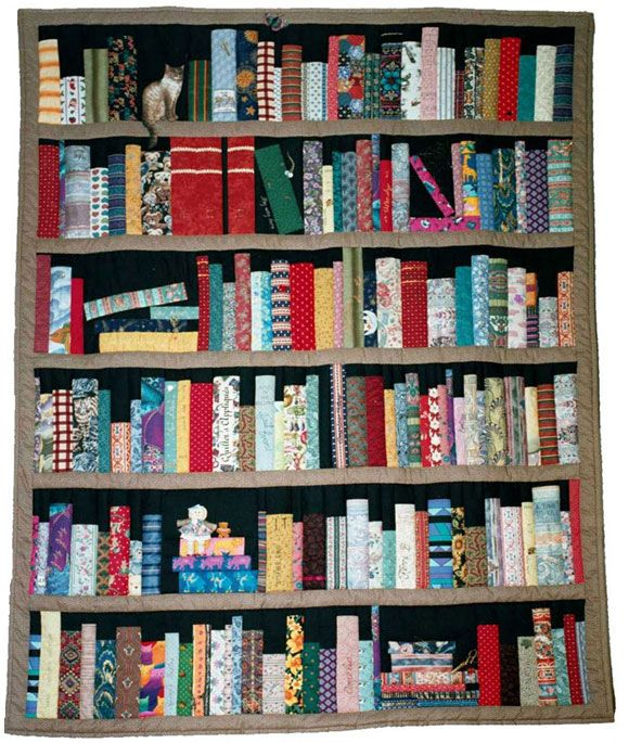 bookshelf quilt, combo of my 2 favorite hobbys