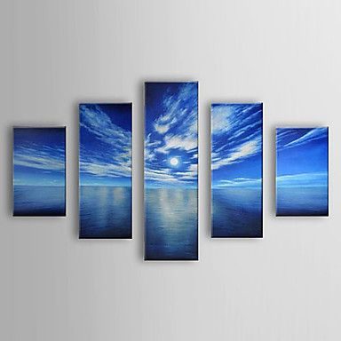 Oil Painting Landscape Sea with Stretched Frame Set of 5 1306-LS0318 Hand-Painted Canvas - USD $ 139.99