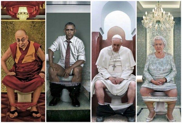 Una artista italiana representa a los líderes mundiales en el 'trono'