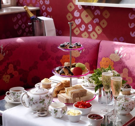 Brumus Restaurant at the Haymarket hotel. Delicious afternoon tea with beautiful crockery.