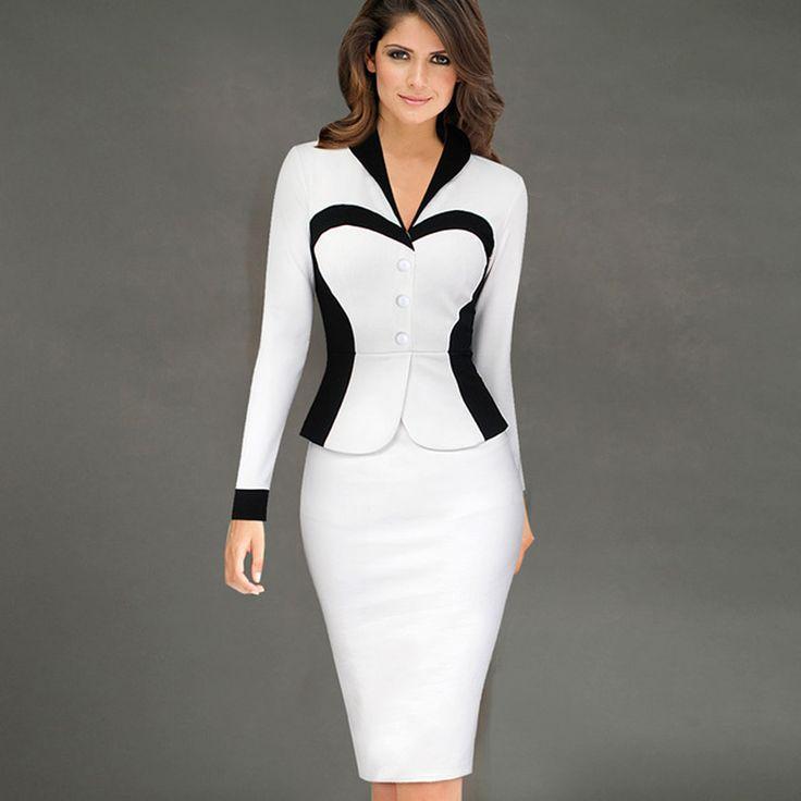 Womens Elegante Pakken Blazer met Rok Formele Kantoor Uniform Ontwerpen Vrouwen Revers Colorblock Knielengte Potlood Jurk