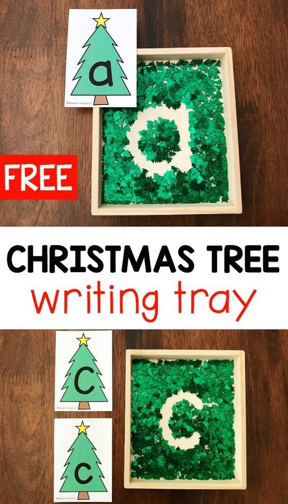 FREE printable uppercase & lowercase Christmas tree alphabet of CIJFERS writing tray for preschool & pre-k to practice letter formation and fine motor skills!