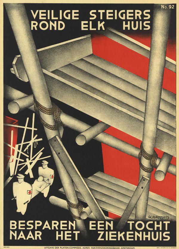 1930 C G HURKMANS MAUVAIS ECHAFAUDAGE HOLLANDE