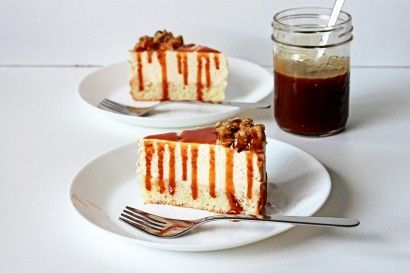 Tender and fluffy vanilla cake topped with smooth and decadent salted caramel cream cheese filling