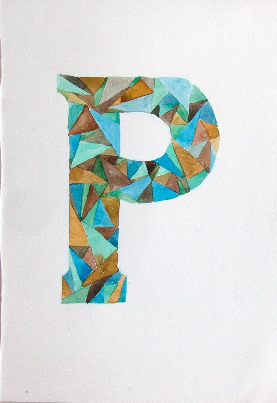 Letter P watercolor painting original. Watercolor by rakla on Etsy, $18.00