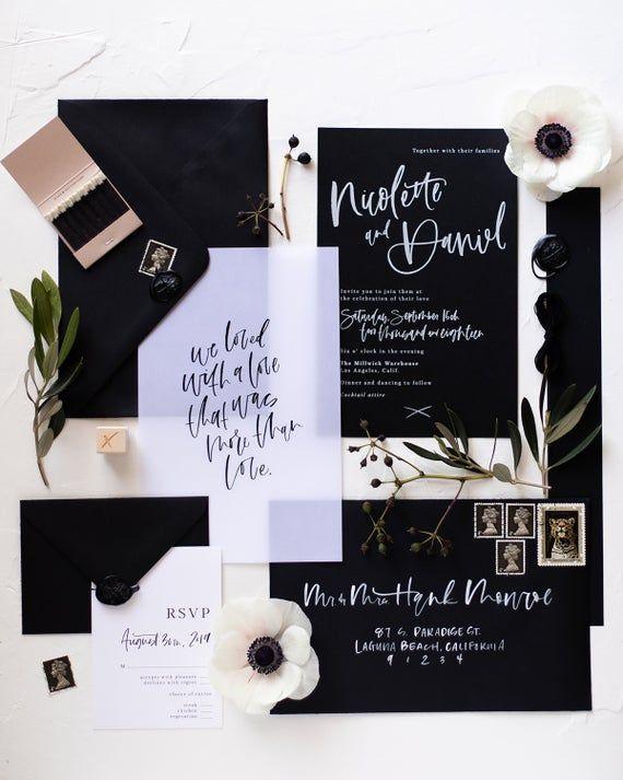 The Nicolette Vellum Suite Sample Pack Etsy In 2020 Hand Lettered Wedding Black Wedding Invitations Wedding Invitation Cards