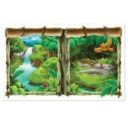 Muurposter jungle -  Een prachtige poster om aan de muur te hangen. Het idee is dat het net lijkt alsof u zo naar buiten kijkt. Afmeting: 155 x 95cm.