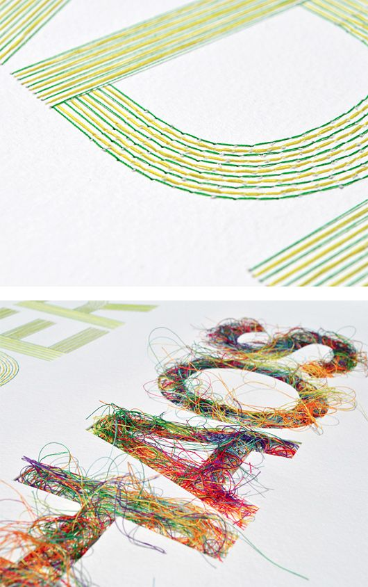 Hand Stitched Typographic Artwork by Peter Crawley | Inspiration Grid | Design Inspiration