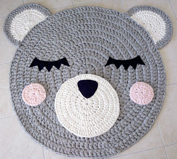 Bear Crochet Rug, Bear Rug, Handmade Rug, Kids Rug, Corchet Rug kids, kids carpet, crochet carpet, nursery rug, girl crochet rug, baby rug