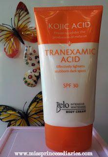Miss Princess Diaries: Belo-beautiful: Kojic acid + Tranexamic acid Intensive Whitening Body Cream and Bar (First impressions)