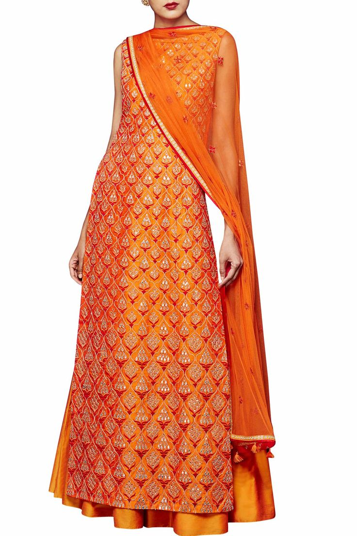 Orange silk suit with sharara by Anita Dongre
