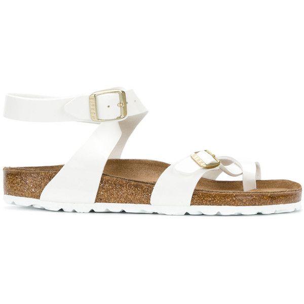 Birkenstock flip flops ($87) ❤ liked on Polyvore featuring shoes, sandals, flip flops, white, patent sandals, white patent leather shoes, birkenstock sandals, birkenstock footwear and white shoes