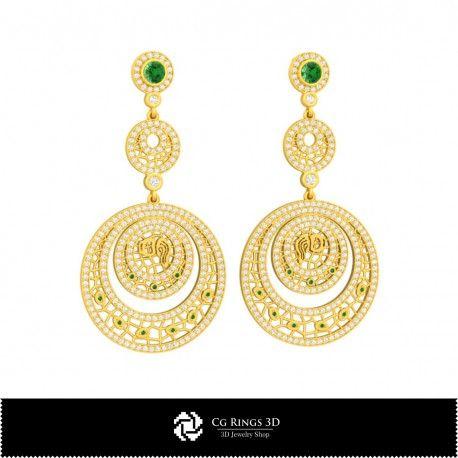 3D CAD Aquarius Zodiac Earrings