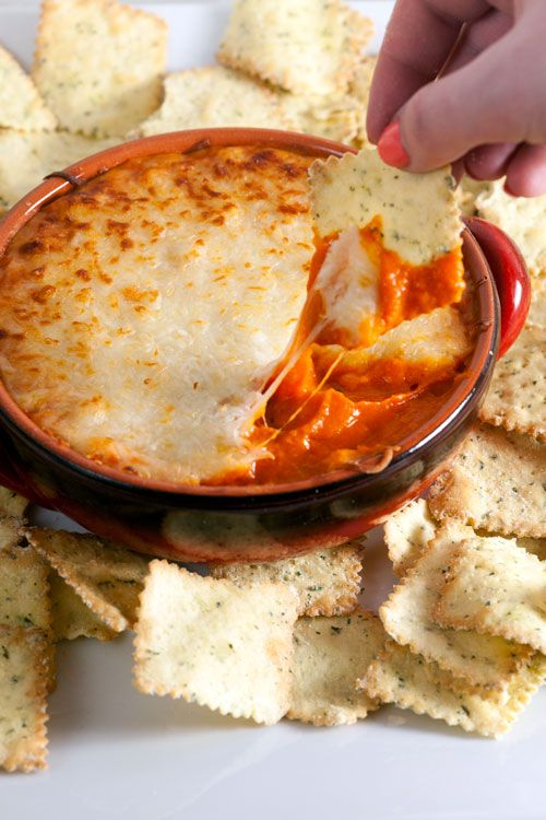 5 ingredient warm roasted red pepper and cannellini bean dip. Easy and healthy!