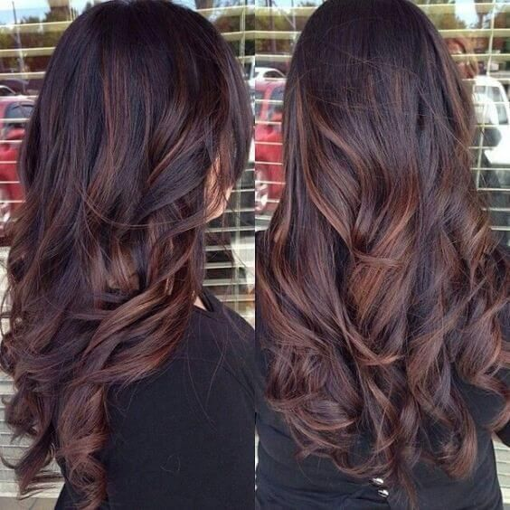 25 Best Hairstyle Ideas For Brown Hair With Highlights: long, dark, chocolate brown wavy hair with auburn highlights