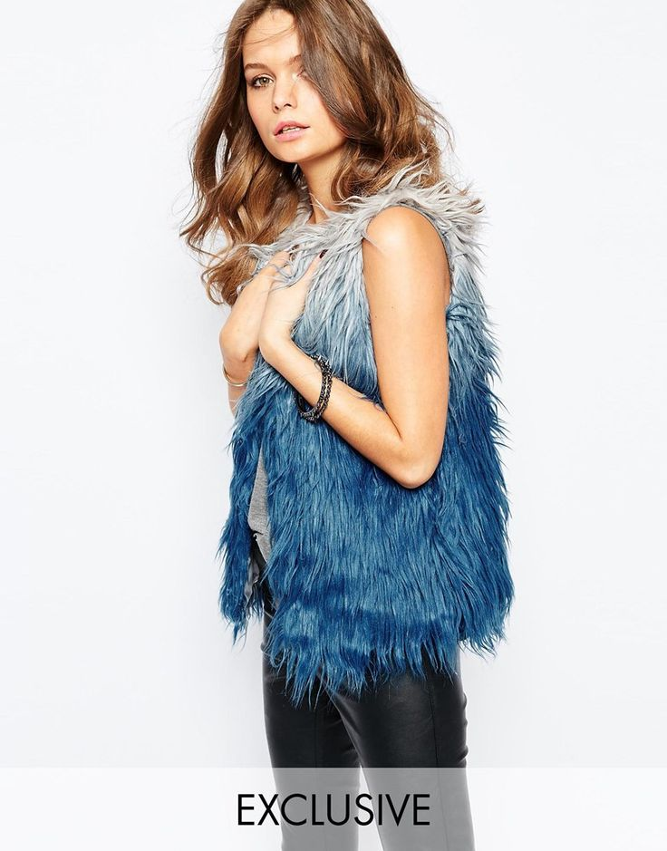 "Gilet by Glamorous Fluffy-feel faux-fur Ombre finish Collarless design Open front Regular fit - true to size Hand wash 100% Acrylic Our model wears a UK 8/EU 36/US 4 and is 170cm/5'7"" tall Exclusive to ASOS"