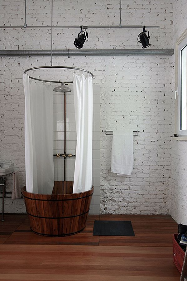 I would love a shower like this in an industrial apt. with exposed duct work and…