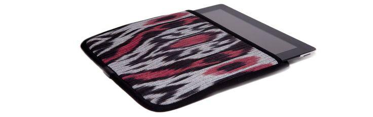 Чехол для Apple iPad, красный с серым в черной окантовке