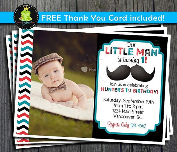 Little Man Mustache Birthday Invitation - FREE Thank You Card included on Etsy, $13.15 AUD