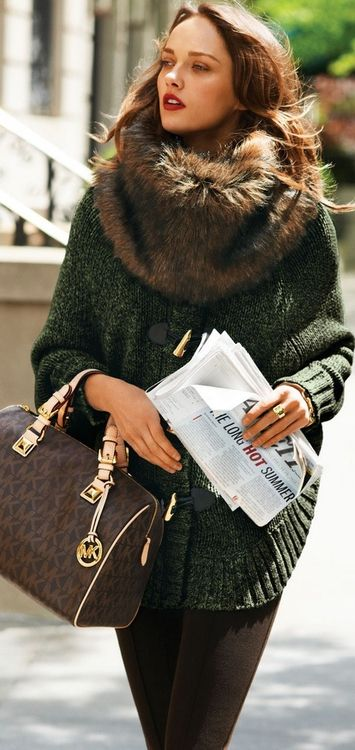 gorgeous sweater coat & faux fur scarve