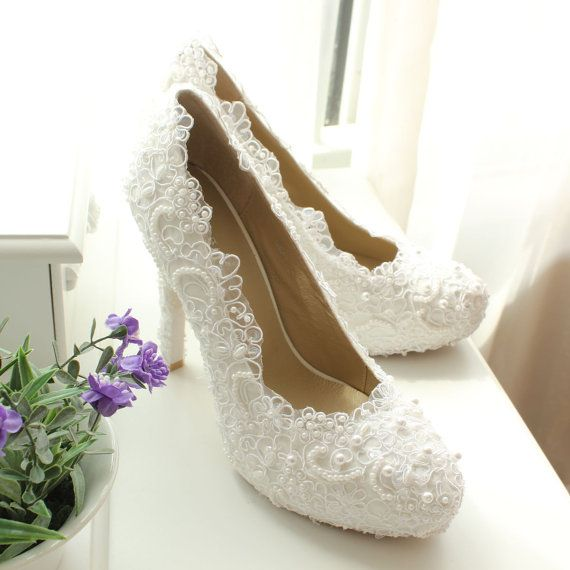 White/Ivory Lace Wedding Shoes, Lace Bridal Shoes, Ivory