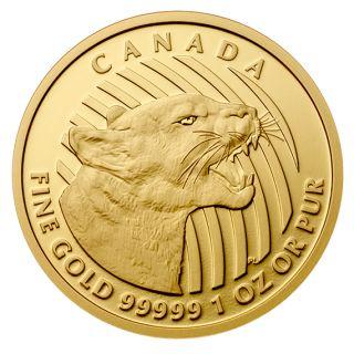 Pièce de 1 oz en or pur à 99,999 % – Le feulement du couguar $200,00.