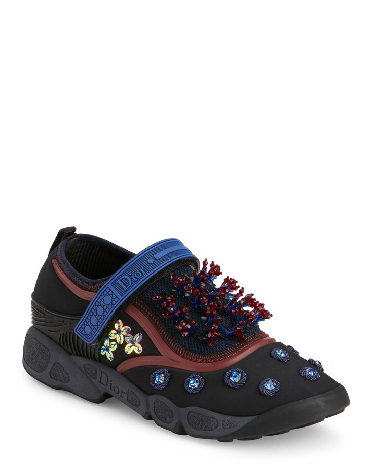 Dior Black Dior Fusion Strap Crystal Embellished Sneakers