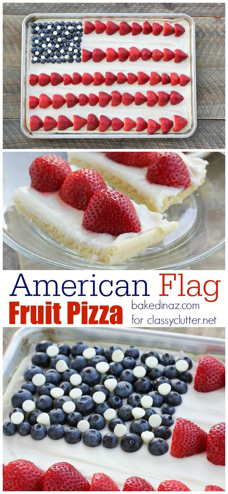American Flag Fruit Pizza - This festive dessert looks and tastes amazing! Perfect for 4th of July BBQs and celebrations!