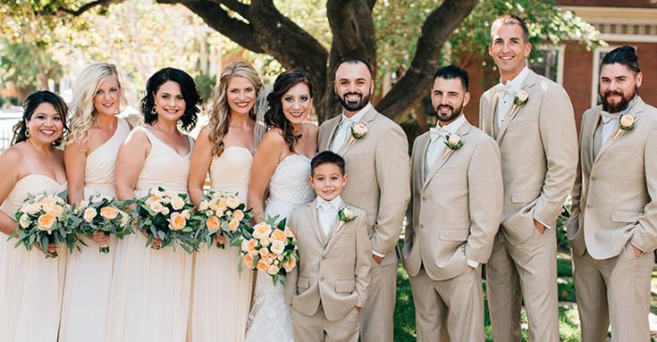 Real Wedding Groomsmen Party in Tan Suits by Generation Tux