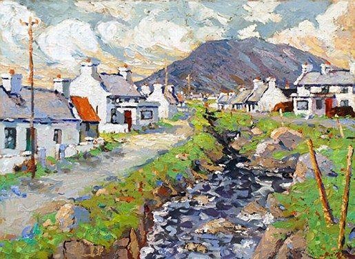 Alex McKenna- Dooagh Village, Achil  #art #Atalantic #Coast #moutains #water #ocean landscape #Achill #Island #painting #DukeStreetGallery #cottages #river
