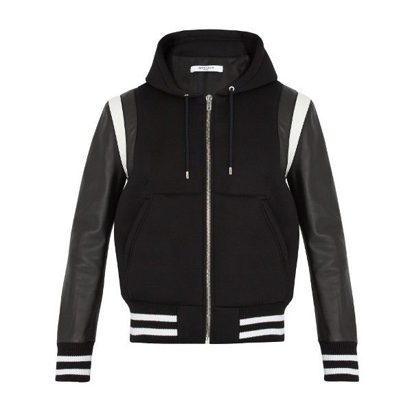 Givenchy Logo-appliqué leather and jersey bomber jacket (60,470 MXN) ❤ liked on Polyvore featuring men's fashion, men's clothing, men's outerwear, men's jackets, black, mens leather flight jacket, mens leather bomber jacket, mens leather jackets, mens lightweight jacket and mens lightweight leather jacket