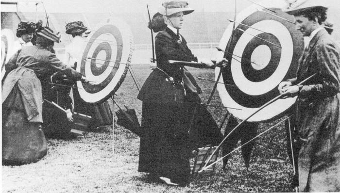 Female archers of the 1908 London Olympics compete.