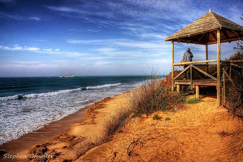 Join me at Stephen Candler Photography ¦ Facebook ¦ Google+  Viewing point looking out to sea at La Barrosa, Chiclana de la Frontera, Andalusia, Spain