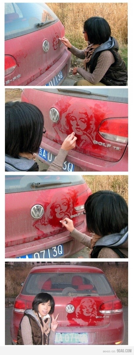 dust art...i would never want to wash my car if i found this on it.  :)