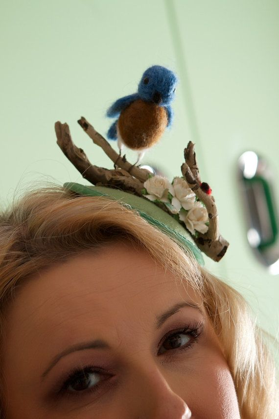 Needle felted bluebird hat - quirky fascinator for wedding or racing. Unique hat, one of a kind wedding headpiece. Kawaii, lolita fascinator