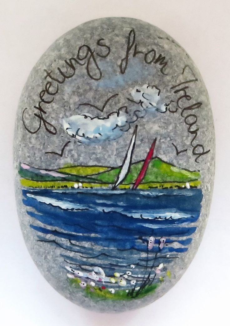Greetings From Ireland-Pebble Seascape With Blue Clouds by PebbleAndMosaic on Etsy