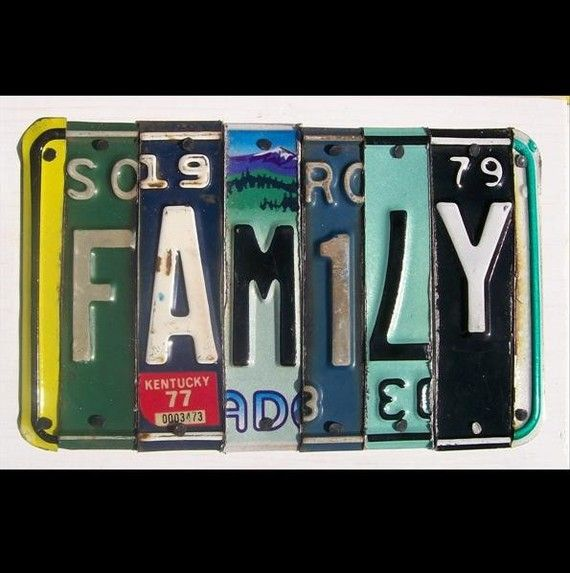 License Plate Art  Funky FAMILY Word Block  by recycledartco, $65.00