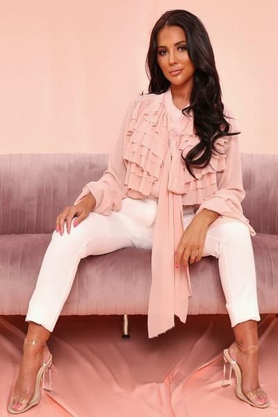 01137d6d77062e Nude Ruffle Bow Blouse | Fashion For Woman in 2019 | Bow blouse ...