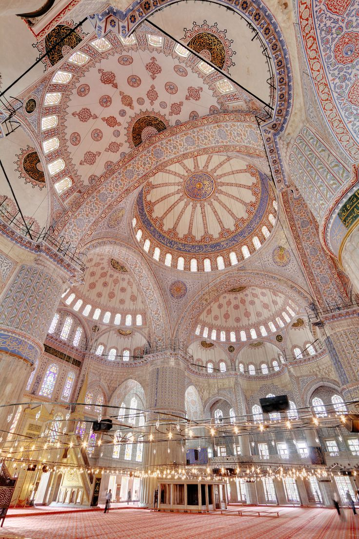 More than 200 stained glass windows with intricate designs admit natural light, today assisted by chandeliers. Istanbul, Turkey - via @scrapwedo #bluemosque