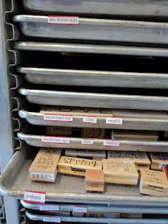 Check out the bakers rack she uses for rubber stamp storage.  Brilliant!