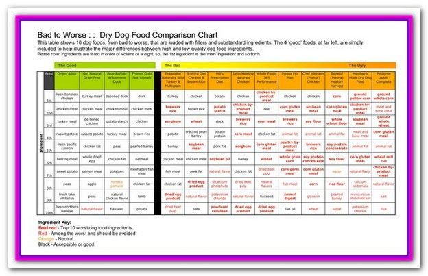 Best And Worst Dog Food Brands List Comparing Ingredient Lists Guaranteed Analysis And Cons Dog Food Comparison Chart Best Dry Dog Food Dog Food Comparison