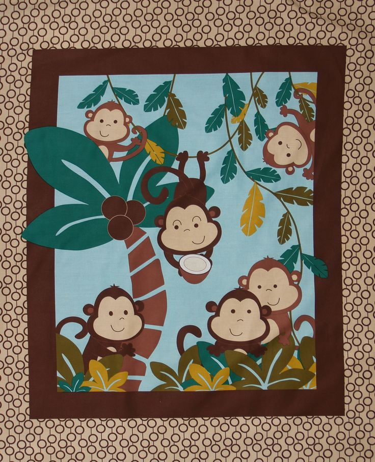 17 best images about nursery panels on pinterest for Baby monkey fabric prints