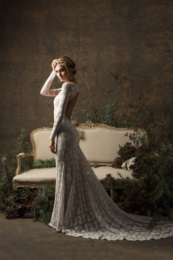 Valentina Bohemian Wedding Dress Long Sleeves Lace Gown W Open
