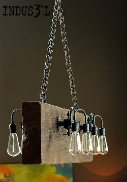 Reclaimed Burned Wood Beam Chandelier | Playa Del Carmen Rustic Industrial Lamps & Furniture